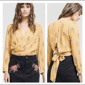 Sweet Wanderer Faux Wrap Black Floral Crop Blouse